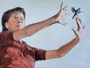 Kvinde-fugl, 60×80, 2016