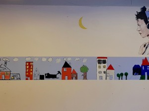 Sun Moon Earth. Mural, young and moon, Lindholm social housing project, Nykoeping F, DK, '18
