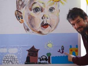 Sun Moon Earth. Baby sun, Mural, Lindholm social housing project, Nykoebing F, DK, '18